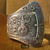 Silver french Indochina repousse cuff bracelet.