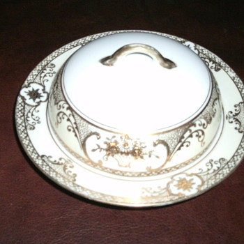 Noritake Gold Encrusted Flower Basket & Scroll Border Covered Butter Dish  - China and Dinnerware
