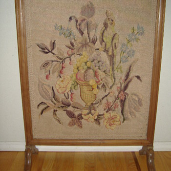 NEEDLEPOINT FIREPLACE SCREEN - Rugs and Textiles
