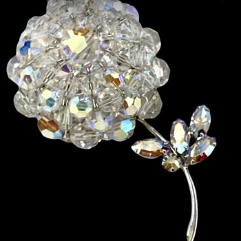 Sherman Crystal Bead Mounded Flower with Rhinestone leaves. - Costume Jewelry