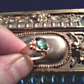 Little 10K Gold and Green Stone Ring / Two Crystal Necklaces / Circa 20th Century - Costume Jewelry