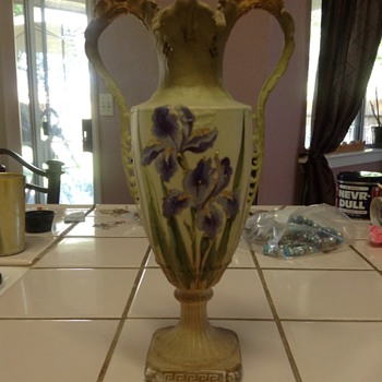 Vase with gold leaf paint from a thrift store - Pottery