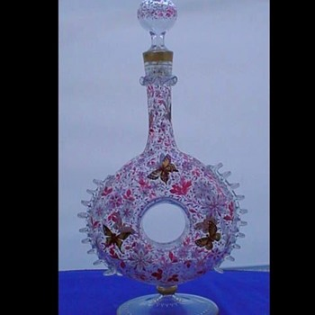 Pilgrams Decanter with Flowers and Butterfly's - Art Glass