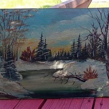 Winter Cabin On a Creek - Fine Art