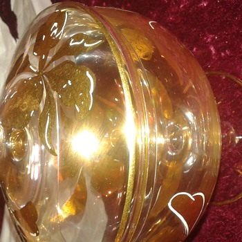 Crystal  candy dish with gold leaf floral design