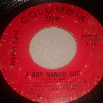 "JOHNNY CASH COLUMBIA RECORDS 45 RPM ""A BOY NAMED SUE"" /  ""SAN QUENTIN"" [4-44944] - Records"