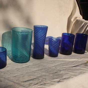 Art Glass-Cobalt Blue and Green.  Hand blown? ID or comments please. - Art Glass