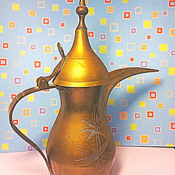 1950's Vintage Brass Tea or Coffee Pot with Lid from Saudi Arabia - China and Dinnerware