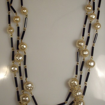 Signed Schiaparelli Flapper Length Tripple Stranded Glass Bead Necklace:)