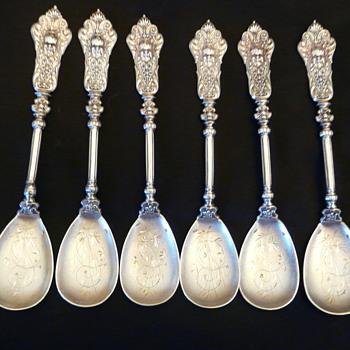 6 Sterling Dessert Spoons Continental (Europe) Renaissance Rivival - Silver