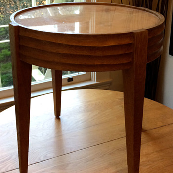 Circular End Table with Marble top and Hand Carved details? - Furniture