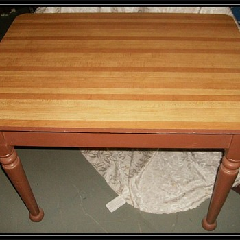 Old wooden Table -- Turned Wood Legs