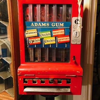Rare 1930s Adams Gum Machine with Stand - Coin Operated