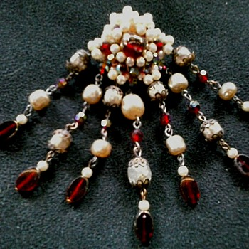 Elaborate Seven Drop Faux Pearl and Red Glass Cluster Brooch /Unsigned Circa 20th Century - Costume Jewelry