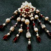 Elaborate Seven Drop Faux Pearl and Red Glass Cluster Brooch /Unsigned Circa 20th Century