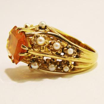 Vintage Panetta Monumental Citrine Pearl Ring