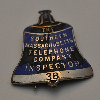 Southern Massachusetts Telephone Company Inspector's badge #38