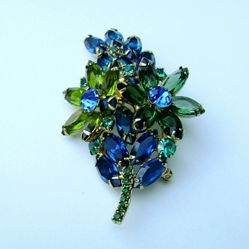 D and E Flowering Leaf Brooch in Royal Blue, Teal and three shades of Green - Costume Jewelry