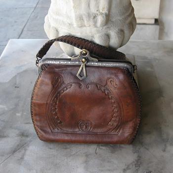 1920's tooled handbag w/silver frame