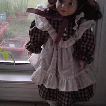 Black Haired Porcelain Doll - Dolls