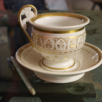 Moghul era Cup & Saucer with gold artwork. - Pottery