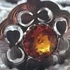 Silver brooch with wonderful shamrock/clove leaf etching