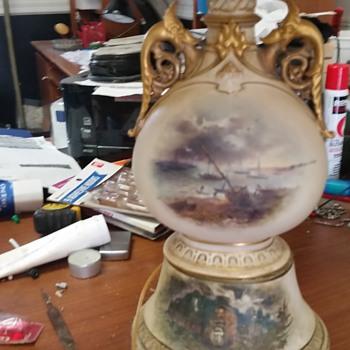 Beautiful Victorian, scenic painted rare art work  - Lamps