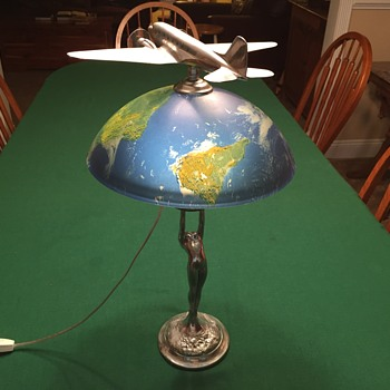 Vintage Airplane Lamp featuring an Original Cast Aluminum DC-3 - Advertising