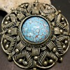 900 Silver Brooch Pendant with Turquoise Glass Cabochon, Ca 1940-50