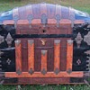 Ornate Leather Dome Top Trunk