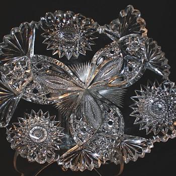 American Brilliant Cut Glass Hawks, Rare Chrysanthemum Pattern - Glassware