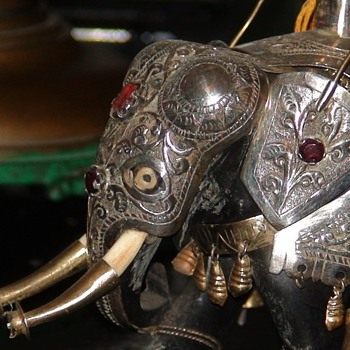Kandy, Sri Lankan Sterling w/ Gems & Ivory Elephant - Animals