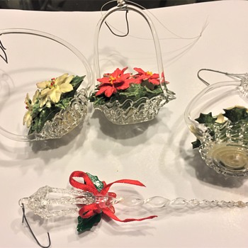Hand Blown Glass Tree Ornaments basket & Candle  LightPole - Christmas