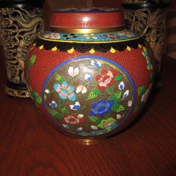 """Antique Cloisonne Urn // Vase...Multi Color (8 or 9) Enamel On Brass 6.5""""  - Asian"""