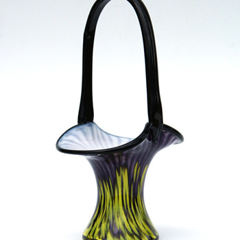 Franz Welz Purple/Yellow stripes and spots Basket vase - Art Glass
