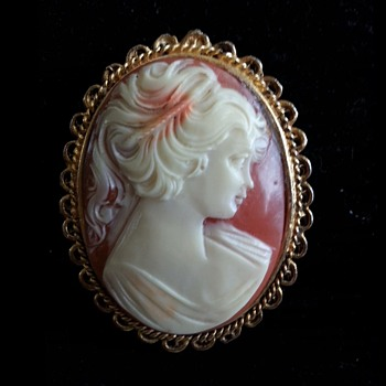 GENUINE HAND CARVED CORAL CAMEO BROOCH - Fine Jewelry