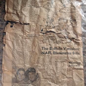 Yankees Yogi Berra and Allie Reynolds, 1950s New Paper Found in Wall, Behind Plaster - Baseball