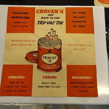 Craven 'A' Flyer/Ad/POS piece ? Mystery Item - Tobacciana