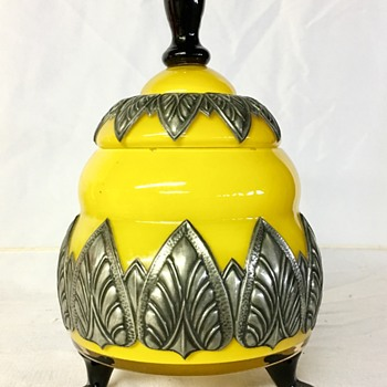 Loetz - Tango lidded with metal application - Art Glass