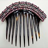Antique 1850's pink pastes, black enamel white dots, silver turtle shell comb.