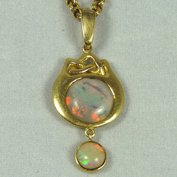 Liberty & Co Arts & Crafts Gold and Opal Pendant designed by Archibald Knox - Fine Jewelry