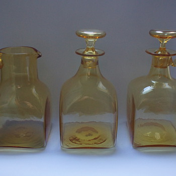 Amber jug, Decanter, and Claret Jug - Art Glass