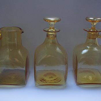 Amber jug, Decanter, and Claret Jug