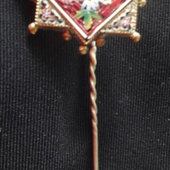 Micro Mosaic Vermeil Flower Stickpin  - Fine Jewelry