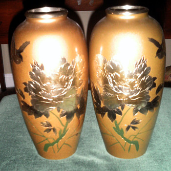 Beautiful  Painted Pair Of Vases from Japan - Asian