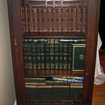 Vintage Walnut Book Case with Classic Book Collections - Books