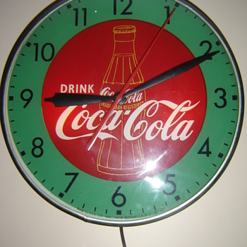 """1957"" Pam green& red bottle clock! - Coca-Cola"