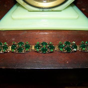 "Green ""glass"" Bracelet - Costume Jewelry"