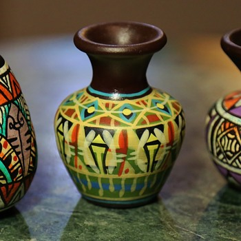 Three little brightly painted pots - Pottery