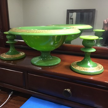 Dark Avocado Green Cambridge Compote with Candlesticks. Gilt Gold Scrolling on Edges - Glassware